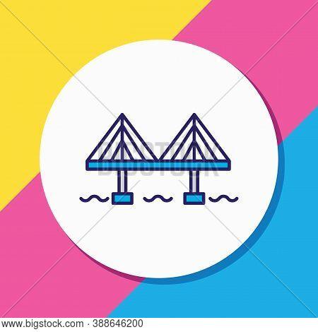 Vector Illustration Of Millau Bridge Icon Colored Line. Beautiful World Landmarks Element Also Can B