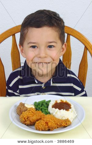 Boy And Fried Chicken Dinner 5 Years Old
