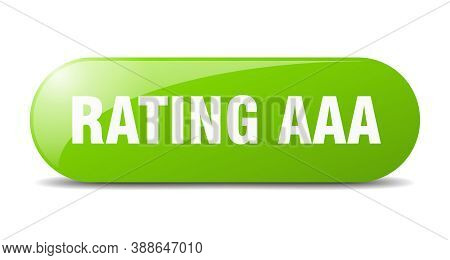 Rating Aaa Button. Sticker. Banner. Rounded Glass Sign