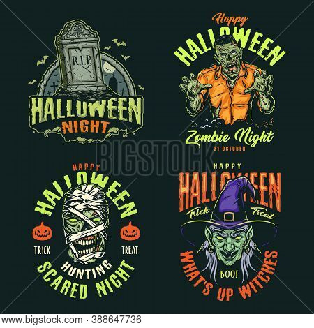 Colorful Vintage Halloween Labels With Inscriptions Gravestone Zombie Mummy And Witch Heads Isolated