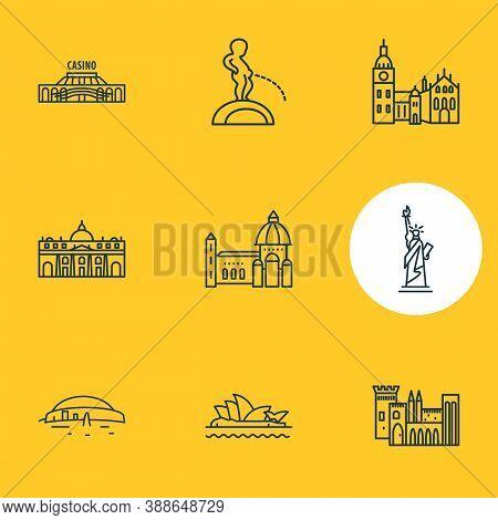 Illustration Of 9 Tourism Icons Line Style. Editable Set Of Sydney Opera House, Manneken Pis, Floren