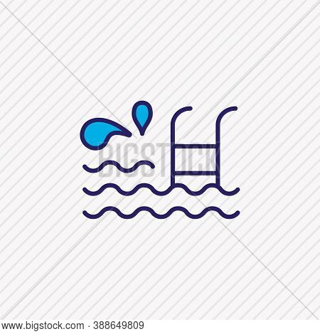 Vector Illustration Of Swimming Pool Icon Colored Line. Beautiful Marine Element Also Can Be Used As
