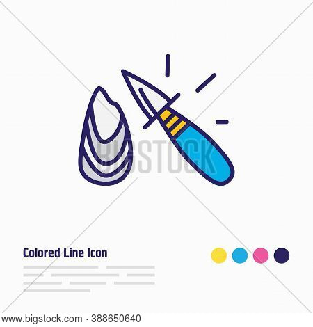 Vector Illustration Of Oyster Knife Icon Colored Line. Beautiful Cutlery Element Also Can Be Used As