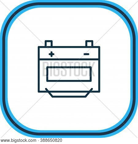 Vector Illustration Of Battery Icon Line. Beautiful Auto Parts Element Also Can Be Used As Alkaline
