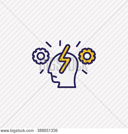 Illustration Of Cognitive Process Icon Colored Line. Beautiful Emotions Element Also Can Be Used As