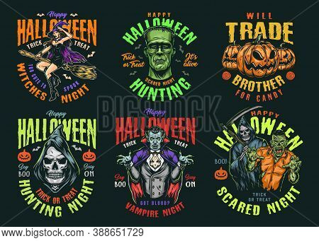 Halloween Vintage Colorful Labels With Pretty Witch Flying On Broom Scary Frankenstein Head Grim Rea
