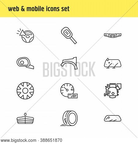 Illustration Of 12 Auto Parts Icons Line Style. Editable Set Of Car Trip Meter, Tyre, Carburetor And