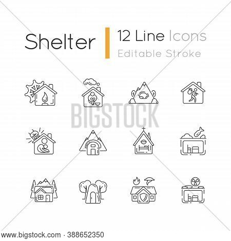 Shelters Types Linear Icons Set. Building. Safety And Retreat Place. Transitional Shelter. Customiza