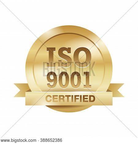 Iso 9001 Golden Emblem - Certification And Conformity To International Standards  - Golden Medal Awa