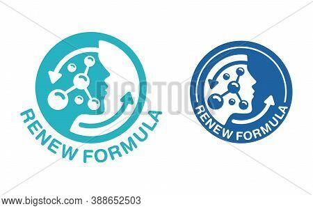 Skin Renew Formula Pictogram  - Emblem For Anti-age And Anti Wrickles Cosmetics Marking - Molecular