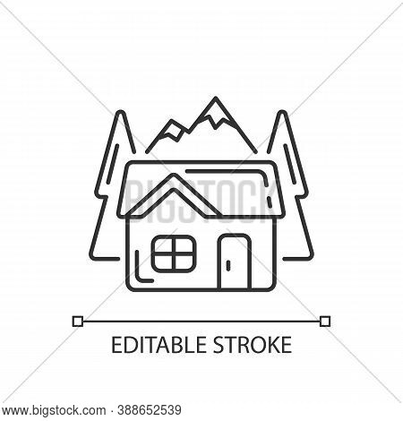 Bothy Linear Icon. Mountain Cabin. Wilderness Hut. Hiking And Mountain Recreation. Eco-cabin. Thin L