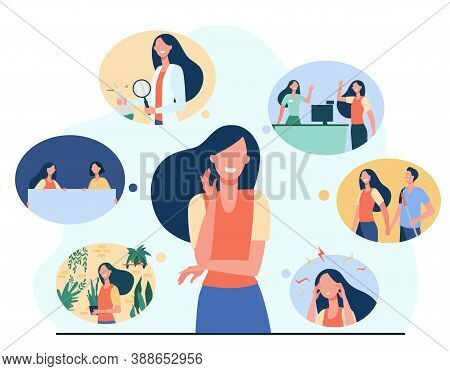 Positive Girl And Her Life Memories Isolated Flat Vector Illustration. Cartoon Woman Thinking About