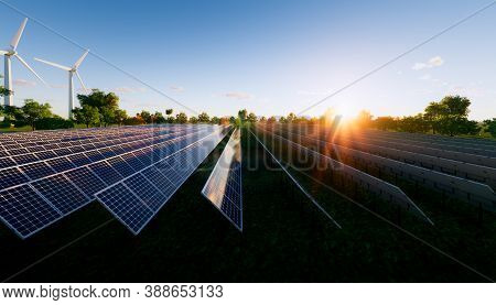 Solar Farm Or Solar Power Plant Consist Of Solar Cell Or Photovoltaic Cell In Panel. That Is Sun Bus