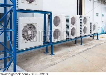 Air Compressor Or Condenser Unit Outside Building. That Is Part Of Mini Split System Or Ductless Sys