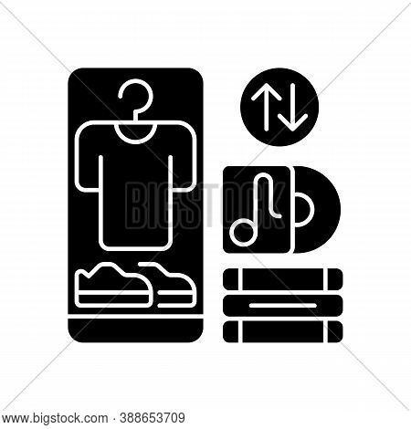 Swap Meet Black Glyph Icon. Items Exchange Deal, Trading Goods Of Equal Value. Consumerism, Barter S