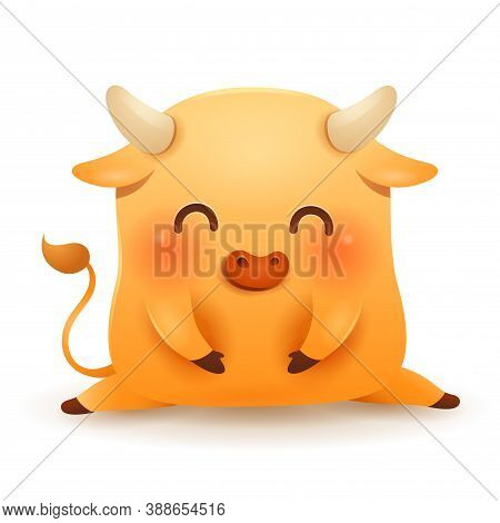 Cute Little Ox. Chinese New Year. Year Of The Ox. Chinese Zodiac: Ox - The Symbol Of The Year 2021 O