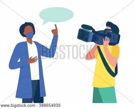 Doctor In Medical Coat And Mask Speaking At Camera. Scientist, Operator, Cameraman Flat Vector Illus