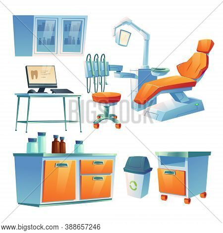 Dentist Cabinet, Stomatology Room In Clinic Or Hospital. Vector Cartoon Interior Isolated Set Of Den