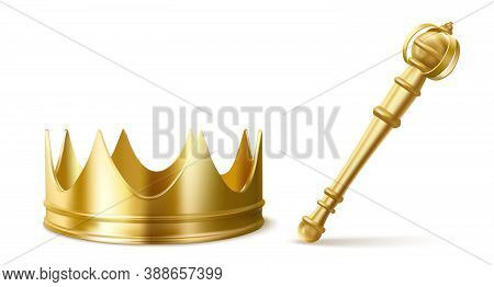 Gold Royal Crown And Scepter For King Or Queen. Vector Realistic Luxury Golden Corona And Sceptre, M