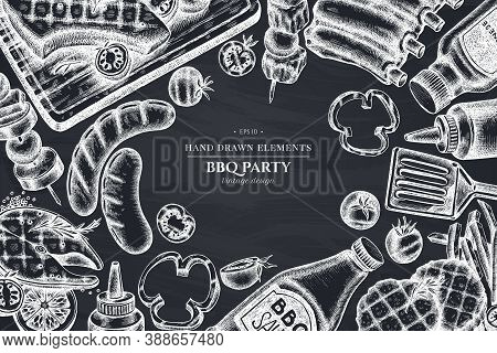 Monochrome Design With Chalk Spatula, Pork Ribs, Kebab, Sausages, Steak, Sauce Bottles, Grilled Burg