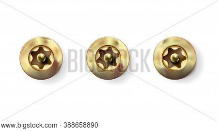 Set Golden Tamper Resistant Torx Screw, Bolt With Cylindrical Head. Macro Shiny Cap Twisted In Surfa