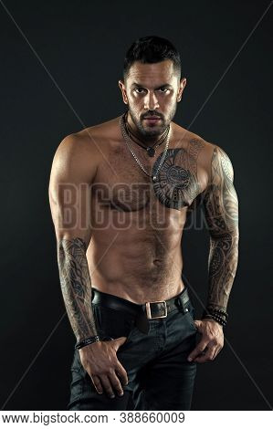 Tempting Glance. Bearded Man With Tattooed Torso. Macho Sexy Bare Torso. Fit Model With Tattoo Art O