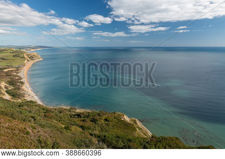 View From The Summit Of Golden Cap Mountain On The Jurassic Coast In Dorset