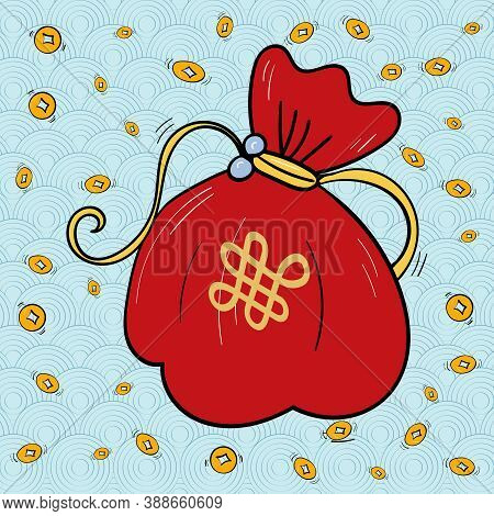 Wealth and prosperity Chinese Fortune Bag and Coin Vector, wave on blue background. New Year, Oriental style. Vector Good luck and fortune