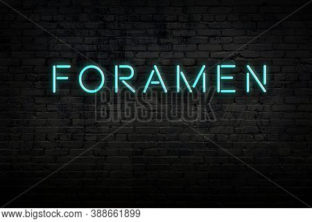 Neon Sign With Inscription Foramen Against Brick Wall. Night View