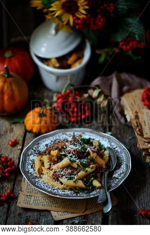 Instant Pot Beef Ragu.style Rustic. Selective Focus