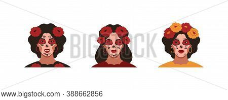 Mexican Young Women With Sugar Skull Makeup For The Day Of The Dead. Female Festive Portraits With F