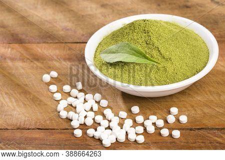 Pills, Powder And Leaves Of Stevia Plant - Stevia Rebaudiana. Sweetener