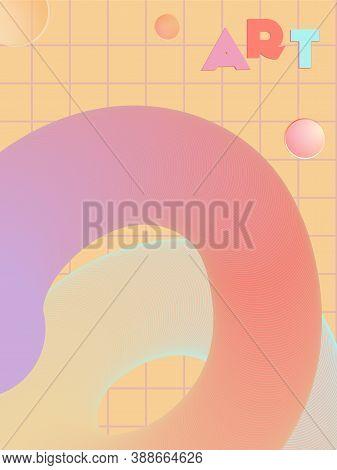 Music Cover In Blue, Violet, Pink, Green Colors. Rock Concert Flyer. Minimal Line Brochure. Amplitud