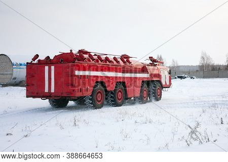 Airfield Firetruck In The Cold Winter Airport
