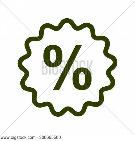 Percent Sign In Bubble Line Icon. Discount And Promotional Offer Symbol, Account Interest Rate, Fina