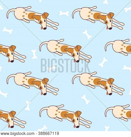 Jack Russel Terrier Lying On The Floor, Ready To Play. Doggy Seamless Pattern With Bones. Vector Ill