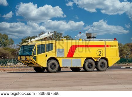 yellow rescue fire truck for airports