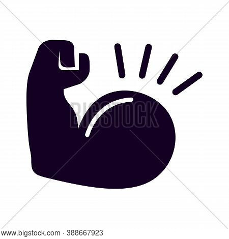 Label Of Power. Muscle Hand. Simple Black Icon. Logo Drawn In Flat Style. Black Shape Pictograph For