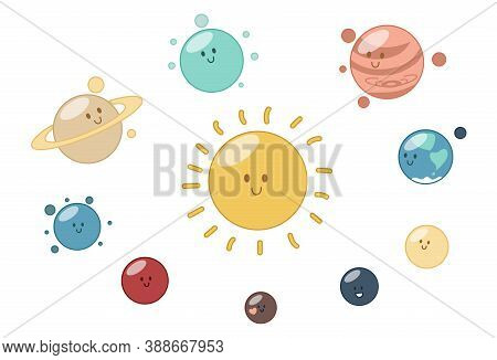 Solar System. Eight Planets, Pluto And The Sun. Vector Illustration In Cute Cartoon Style
