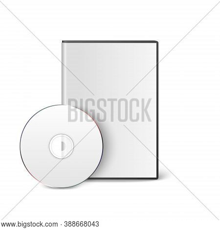 Vector 3d Realistic Blank White Cd, Dvd With Cover Case Box Set Closeup Isolated On White Background