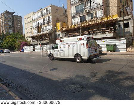 Holon, Israel. September 18, 2020. White Magen David Adom Ambulance Minivan On Histadrut Street In C