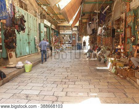 Jerusalem, Israel. September 15, 2020. An Empty Street Of The Arab Shuk Bazaar In The Old City Jerus