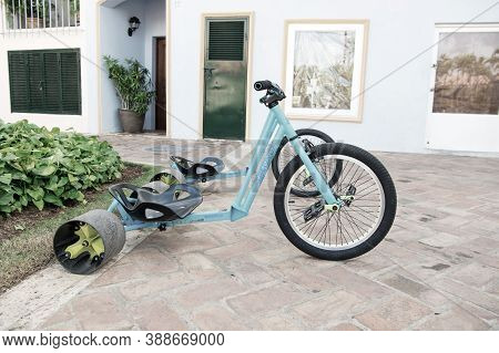 La Romana, Dominican Republic - February 16, 2016: Cool Sport Bicycle Or Tricycle Blue Color With Ir