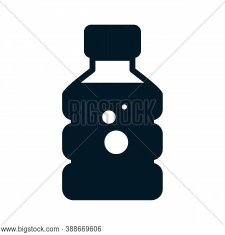 Water Bottle Glyph Icon. Container For Abstract Beverage. Black Flat Drink Emblem Or Button For Groc