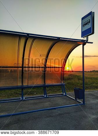 The image of a bus stop in Russia countryside