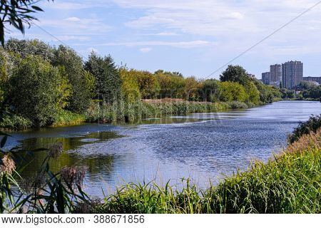 Landscape with the image of an embankment in Tambov city, Russia