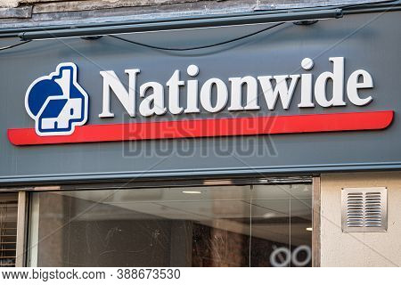 Derry, Northern Ireland- Sept 27, 2020: The Sign For Nationwide Building Society  In Derry.