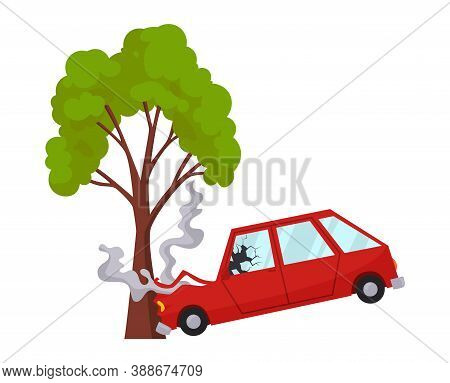 Accident On Road Car Damaged. Road Accident Icon. Car Crash When Met A Tree. Damaged Vehicle Insuran