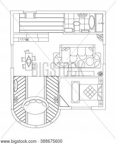 Interior Plan. Sketch Style. Detailed Apartment Furniture Overhead Top View. Apartment Room Plan. Ar