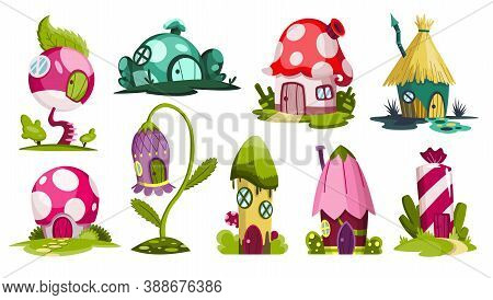 Set Of Fairytale Houses. Collection Of Cartoon Houses In The Shape Of Candy, Flower Or Mushrooms. Co